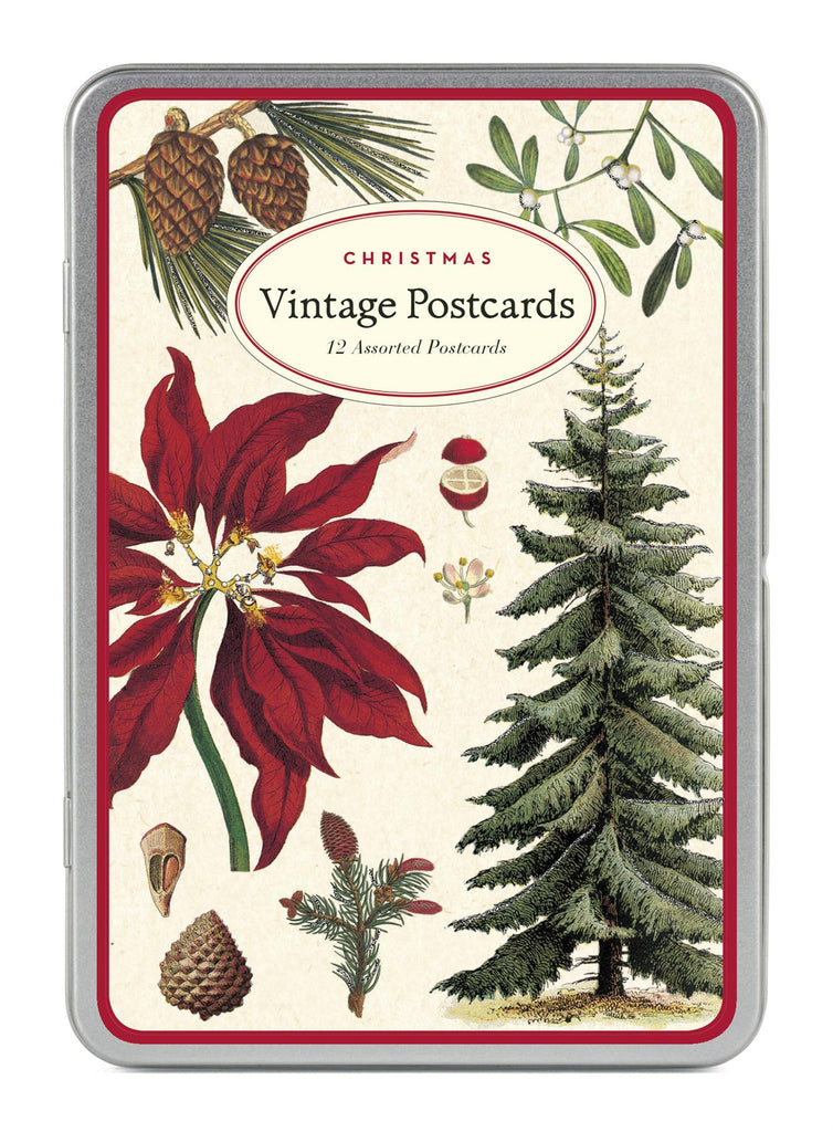Cavallini - Glitter Greetings Carte Postale - Christmas Botanicals - Tin of 12 Postcards - 6 Designs/2 Per Design