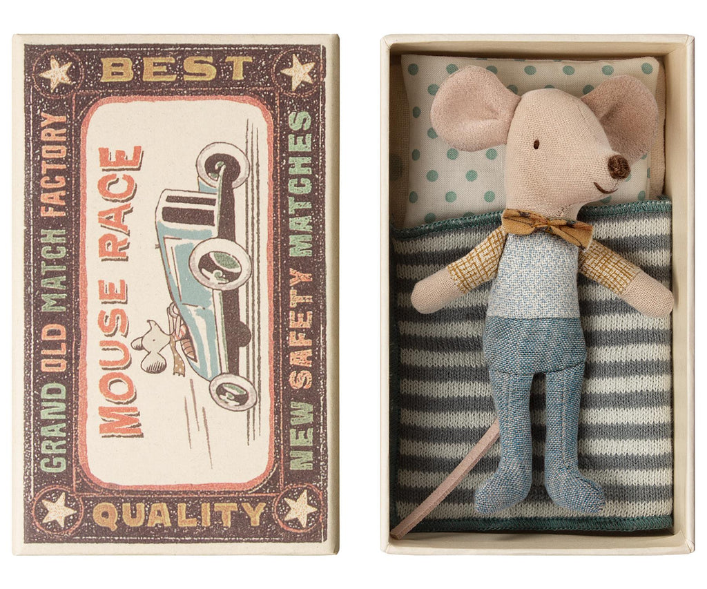 Maileg - Little Brother - Matchbox Mouse - With Bow Tie - Boxed With Bedding