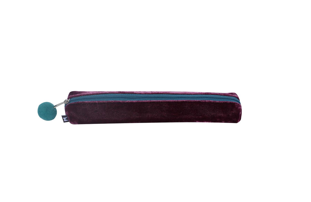 Earth Squared - Velvet Pencil/Make Up Brush Case - Plum - 20x3x4cms