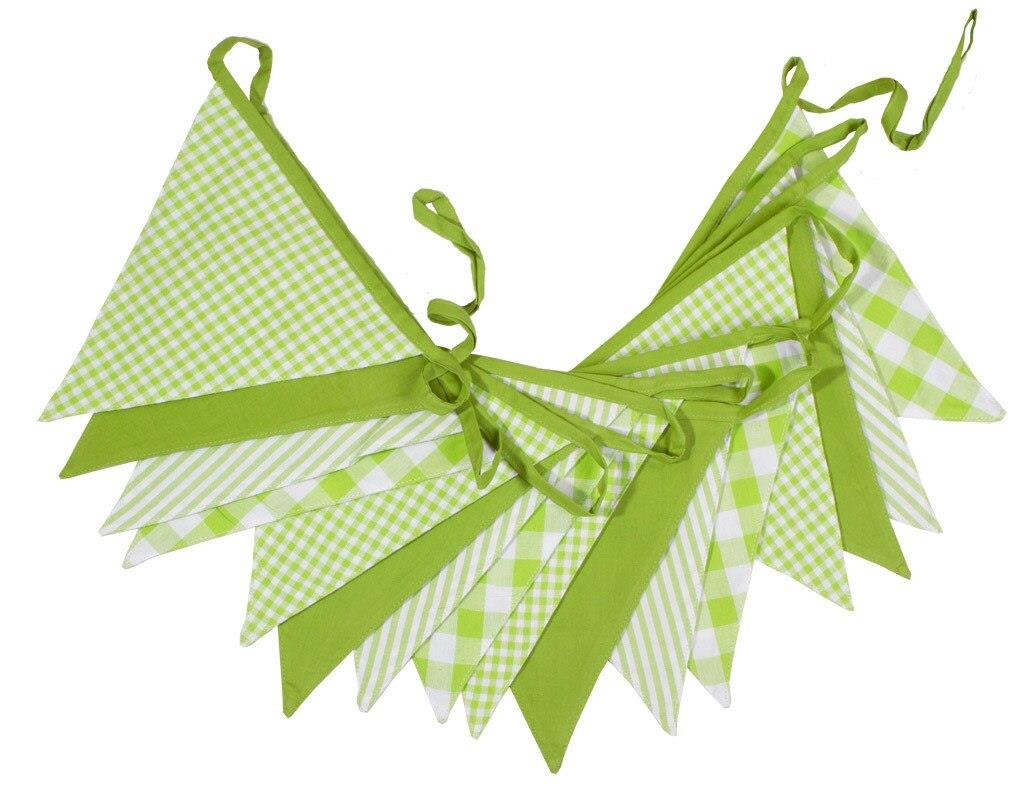 100% Cotton Bunting - Shades of Green - 10m/33 Double Sided Flags