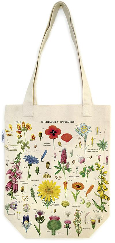 Cavallini - 100% Natural Cotton Vintage Tote Bag - 33x40.5cms - Wildflowers