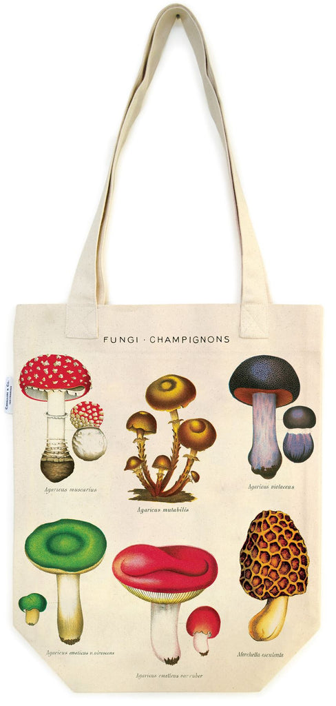 Cavallini - 100% Natural Cotton Vintage Tote Bag - 33x40.5cms - Mushrooms/Fungi