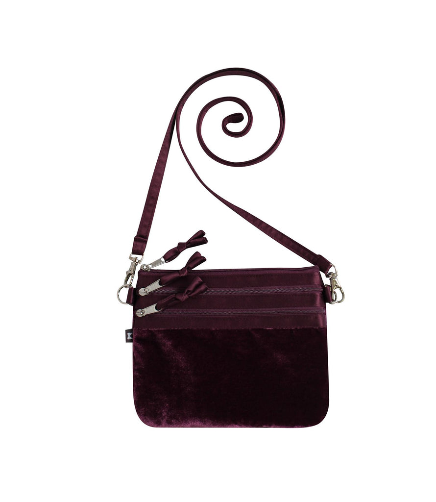 Earth Squared - 3 Zip Pouch Crossbody Velvet Bag - Plum - 19x15cms