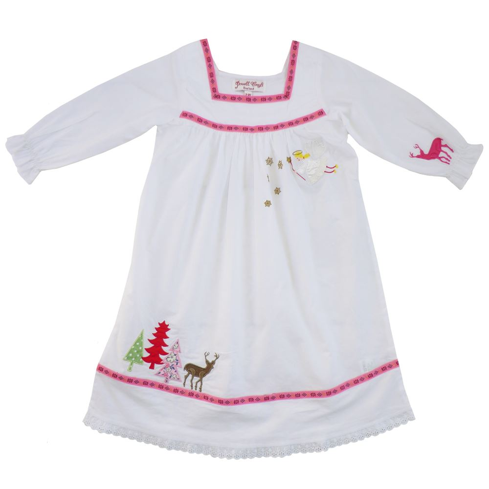 100% Cotton Longsleeve Nightdress - Christmas Reindeer, Trees & Fairy - Powell Craft - Ages 2-7
