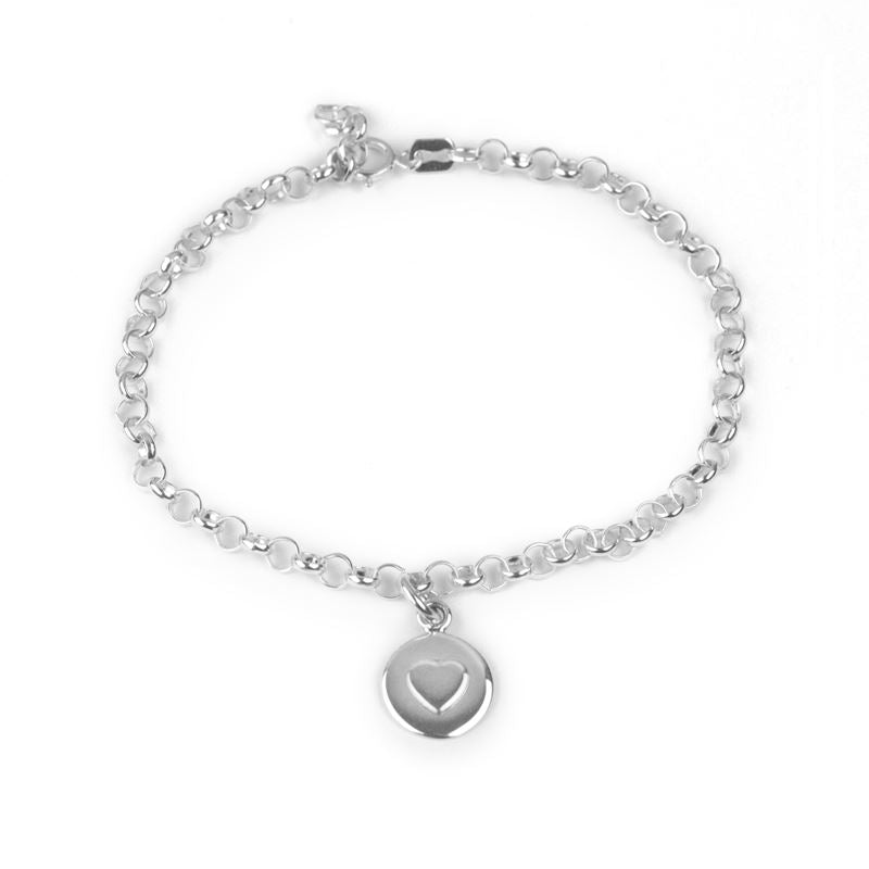 Sterling Silver - Love Circle Bracelet - Silver Heart - Tales From The Earth