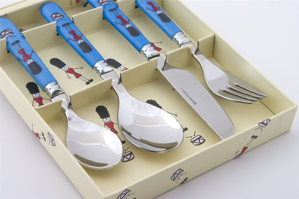 Children's Melamine Handled Cutlery - 4 pc Set - Soldiers
