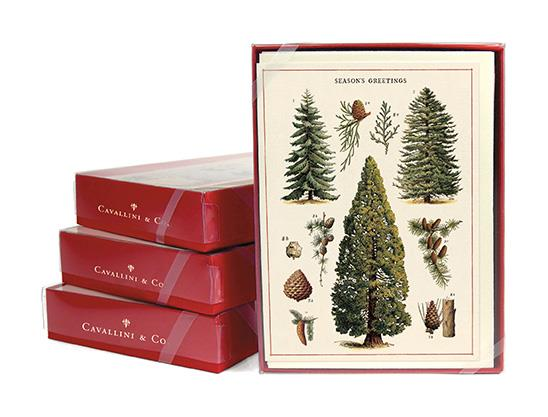 Cavallini - 10 x Christmas Greetings Cards/Notes - Christmas Trees