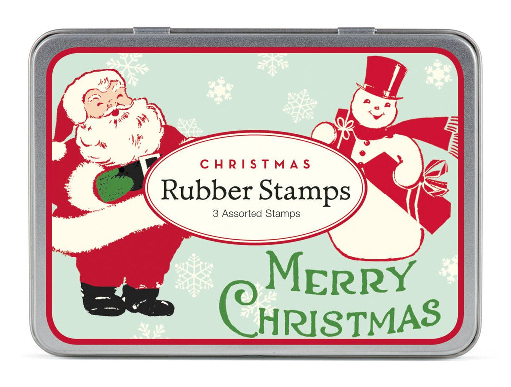 Cavallini - Tin of Rubber Stamps - Christmas Santa & Snowman CHRSAN - Set of 3 Stamps