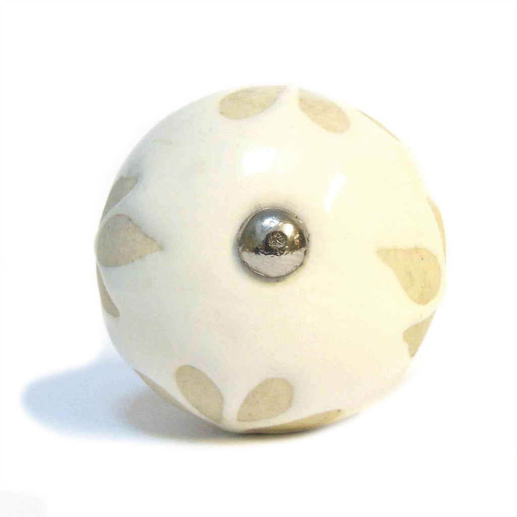 Ceramic Cupboard/Drawer Door Knob - Flower Leaf Design - White & Cream