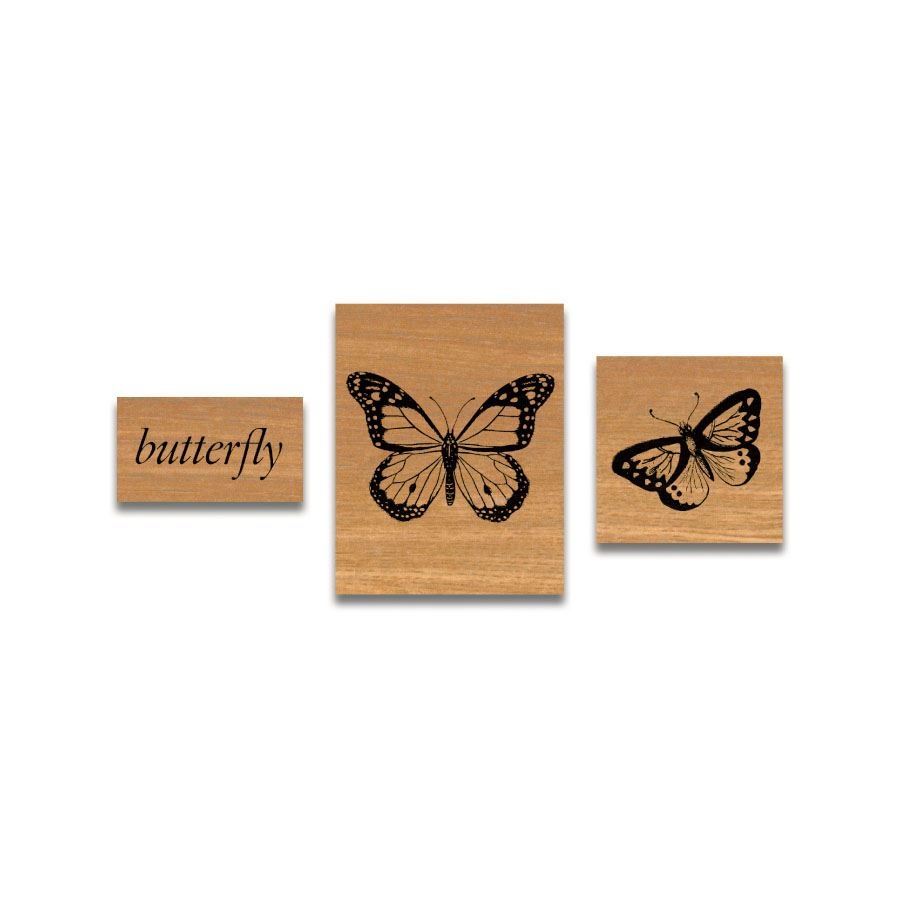 Cavallini - Tin of Rubber Stamps - Butterflies - Set of 3 Stamps