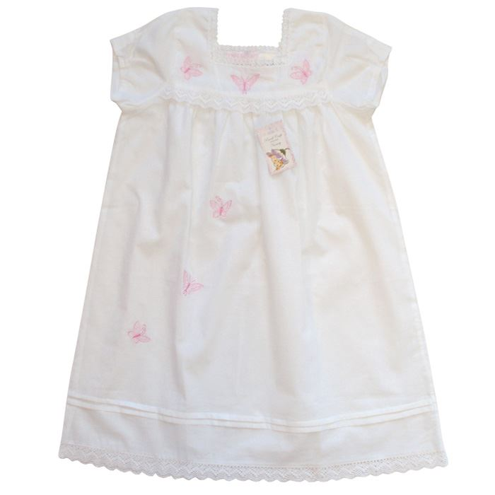 100% Cotton Shortsleeve Nightdress - Flora - Butterflies - Powell Craft - Ages 2-12