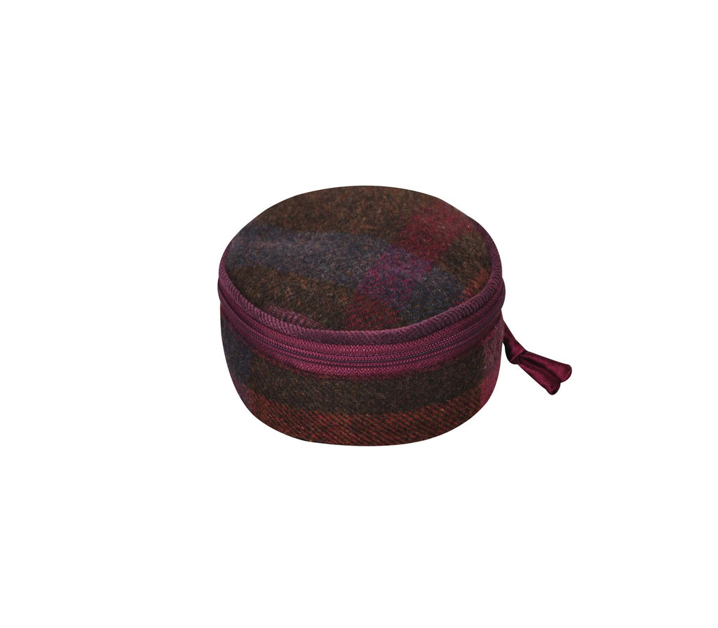 Earth Squared - Round Jewellery Pouch - Tweed Wool - Mulberry - 10x10x5cms