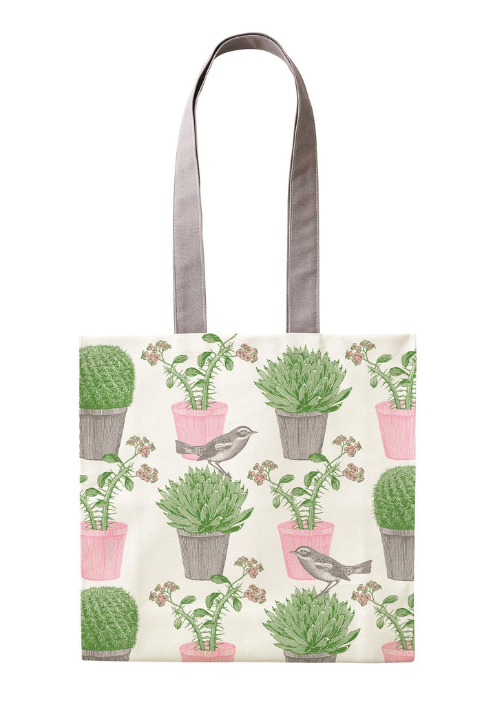 Thornback & Peel - 100% Cotton Tote Shopping Bag - 40x37x11cms - Cactus & Bird