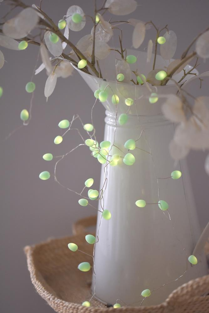 Teardrops - Mint Green - 60 LED Indoor Light Chain With Built In Timer - Battery Powered
