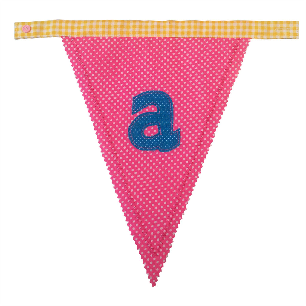 Bombay Duck - Alphabet Button Together Bunting - Single Sided - Letters Sold Individually a-z