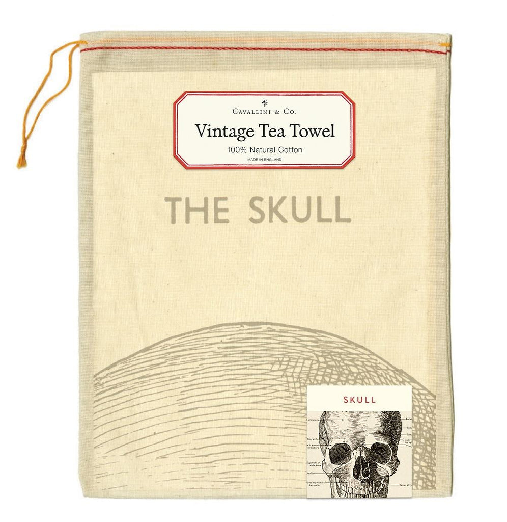 Cavallini - 100% Natural Cotton Vintage Tea Towel - 80 x 47cms - The Human Skull