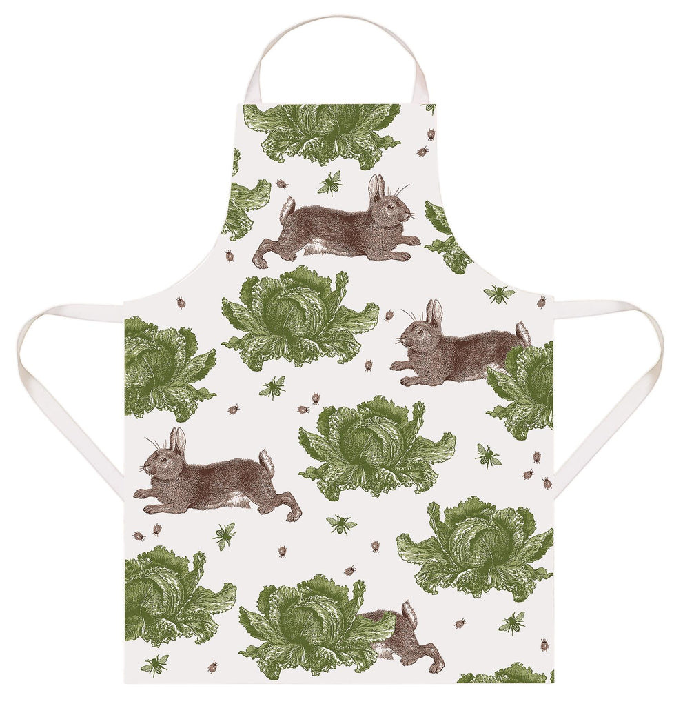 Thornback & Peel - 100% Cotton - Full Length Apron 60 x 80cms - Rabbit & Cabbage