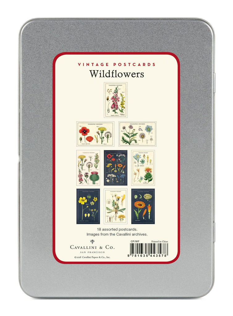 Cavallini - Carte Postale - Wildflowers - Tin of 18 Vintage Postcards - 9 Designs/2 Per Design