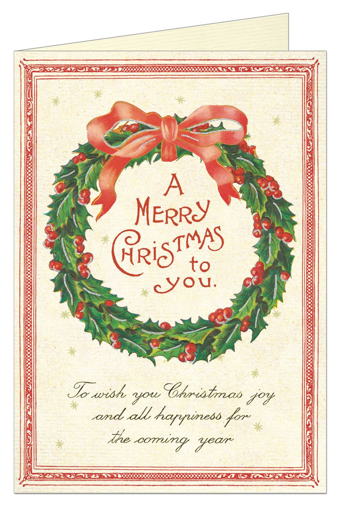 Cavallini - 10 x Glitter Greetings Christmas Cards/Notes - Christmas Wreath