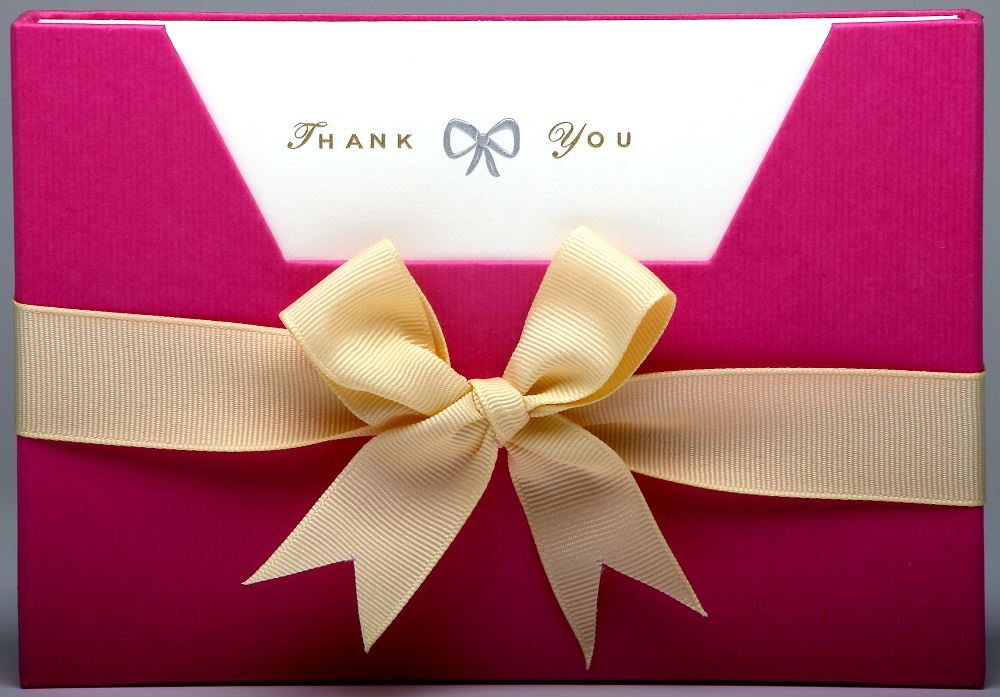 Julie Bell - Luxury Die Stamped Stationery - Thank You/Bow - 10 Single Note Cards & Envelopes