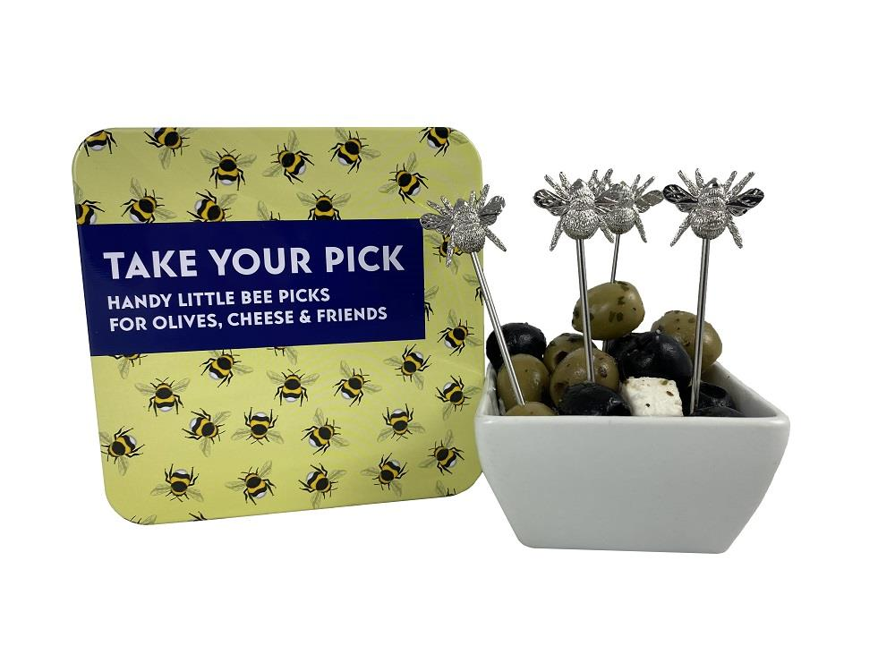 Apples To Pears - Gift In A Tin - Take Your Pick - 4 x Bee Design Olive & Cheese Picks