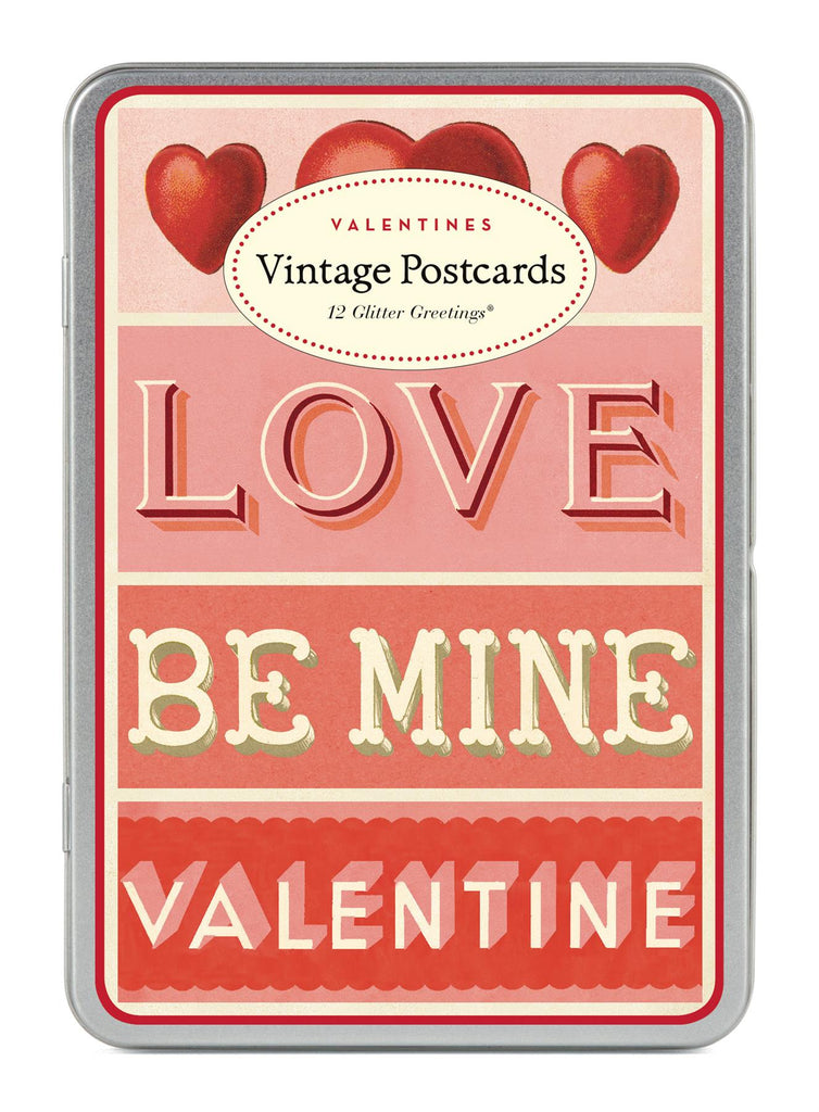 Cavallini - Glitter Greetings Carte Postale - Love/Be Mine/Valentines - Tin of 12 Postcards - 6 Designs/2 Per Design
