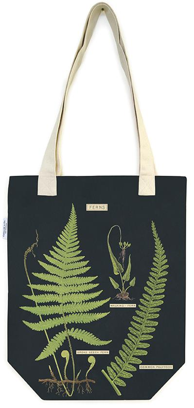 Cavallini - 100% Natural Cotton Vintage Tote Bag - 33x40.5cms - Ferns