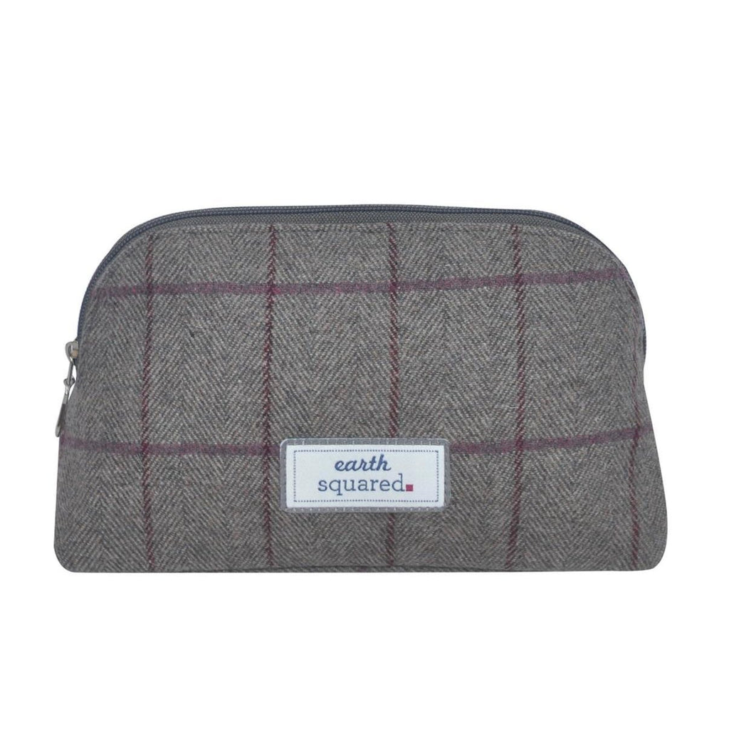 Earth Squared - Make-Up Bag - Heritage Tweed Wool - Grey Fog - 23x13x8cms
