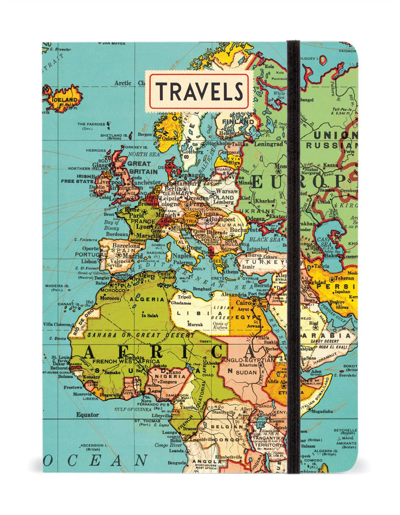 Cavallini - Large Lined Notebook 6x8ins - Vintage World Map - 144 Pages With Elastic Enclosure