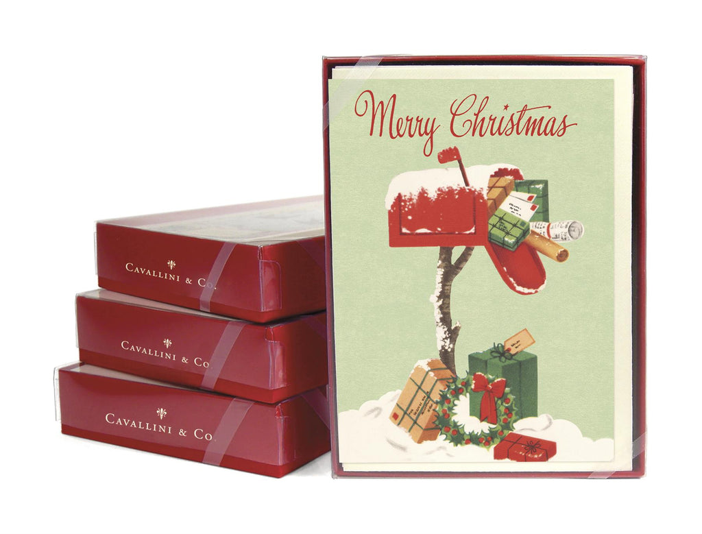 Cavallini - 10 x Glitter Greetings Christmas Cards/Notes - Christmas Mailbox