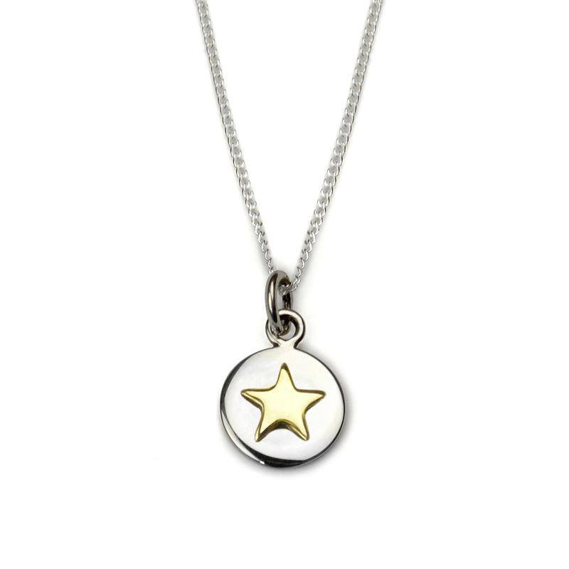 Sterling Silver - Good Luck Circle Necklace - Gold Star - Tales From The Earth