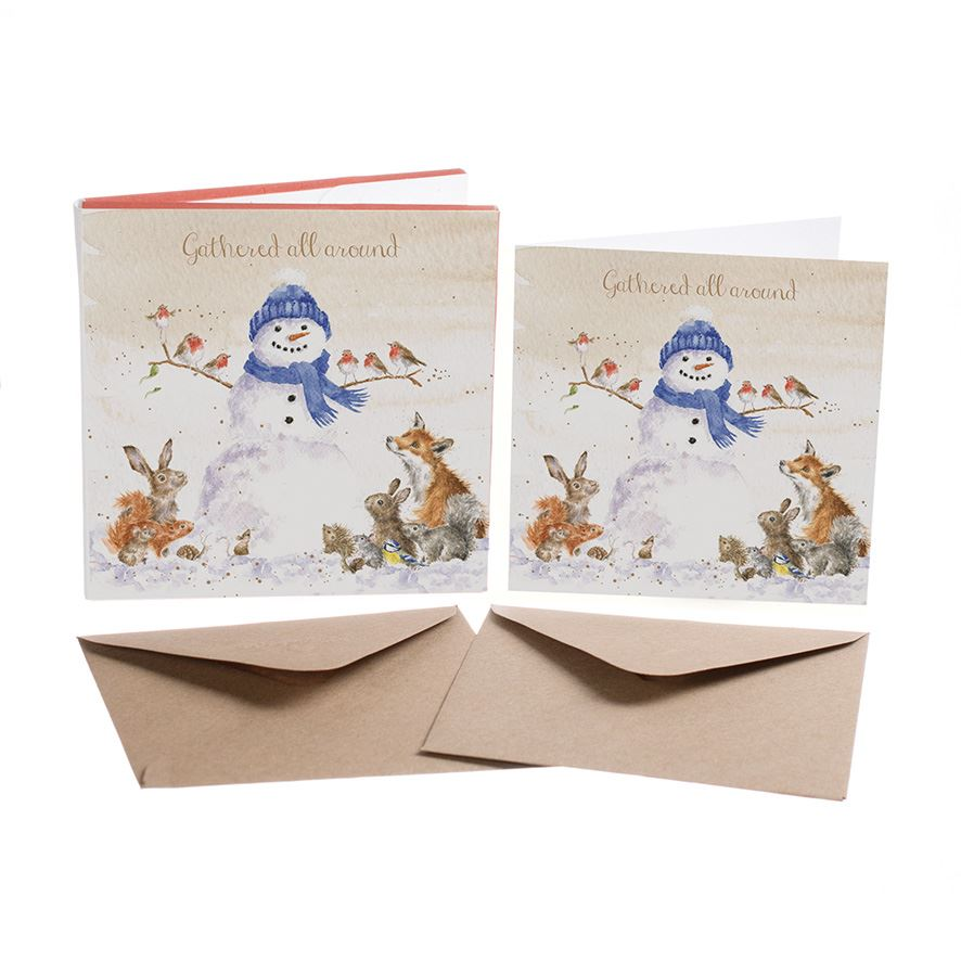 Gathered All Around  - 8 Luxury Gold Foiled Xmas Cards & Envelopes - Wrendale Designs