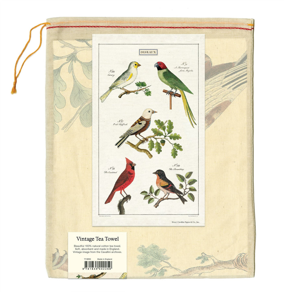 Cavallini - 100% Natural Cotton Vintage Tea Towel - 80 x 47cms - Birds/Oiseaux