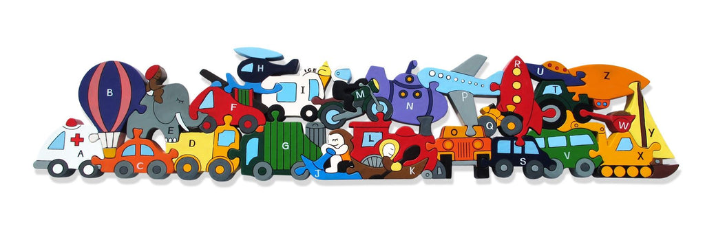Alphabet Jigsaws - Wooden Alphabet Transport ABC Puzzle - Chunky, Bright & Educational - 56x12.5cms