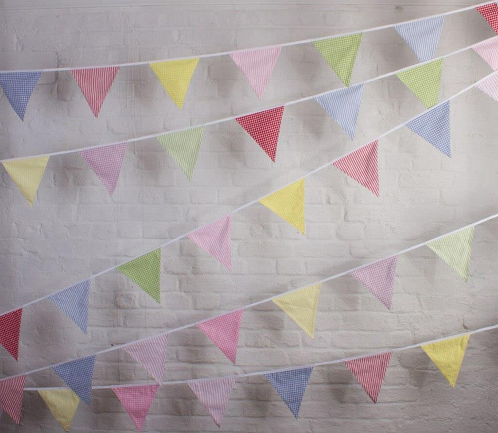 100% Cotton Bunting - English Country - Gingham & Stripes - 10m/33 Double Sided Flags