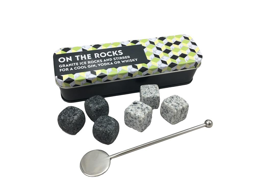 Apples To Pears - Gift In A Tin - On The Rocks - 6 x Granite Ice Rocks & Stirrer