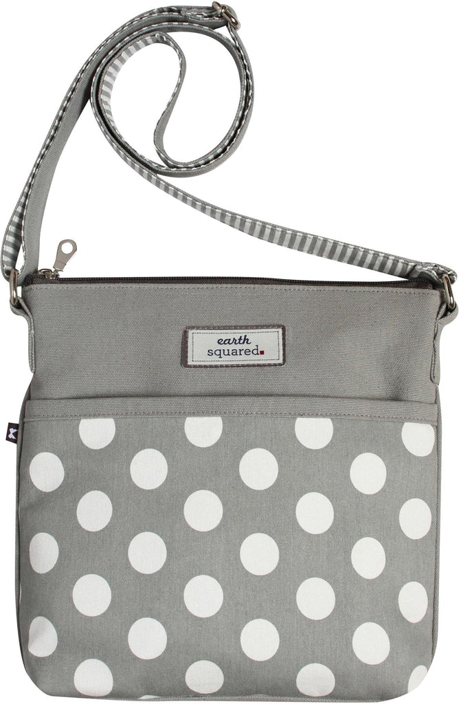 Earth Squared - Amelia - Spotty Messenger Bag - Grey With White Spots - 26x24x4cms