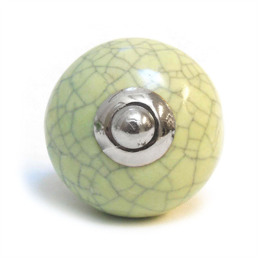 Ceramic Cupboard/Drawer Door Knob - Green Crackled Effect (P25)