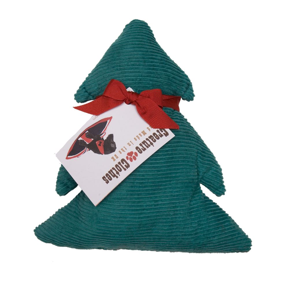 Creature Clothes - Squeakless Christmas Tree Toy - Green Corduroy - Handmade in the UK