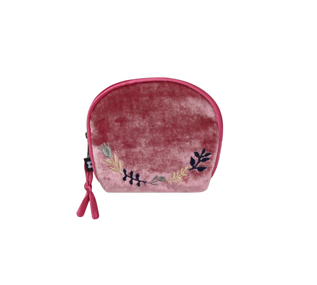 Earth Squared - Amy Coin Purse - Velvet - Pink - 10.5x10cms