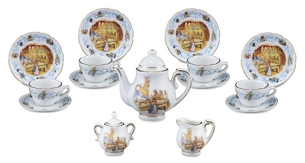 150th Anniversary Collection - Peter Rabbit - Limited Edition Children's Porcelain Tea Service - 4 Place Settings - Carry Case - Reutter Porzellan