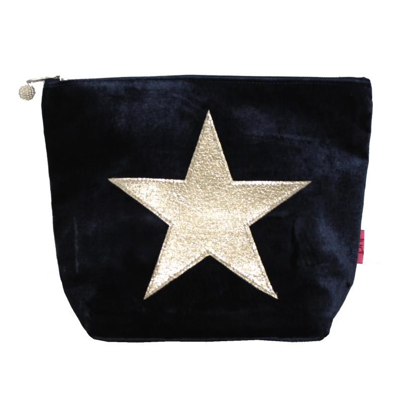 Lua - Large Velvet Cosmetic Bag/Purse With Appliqued Star 19 x 23cms - 4 Colour Options