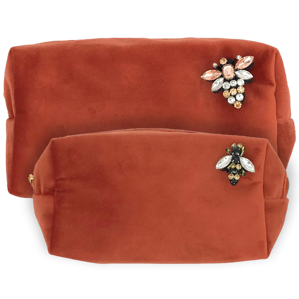 Coral Velvet Make-Up Bag & Bumblebee Pin - Sixton London - Small or Large
