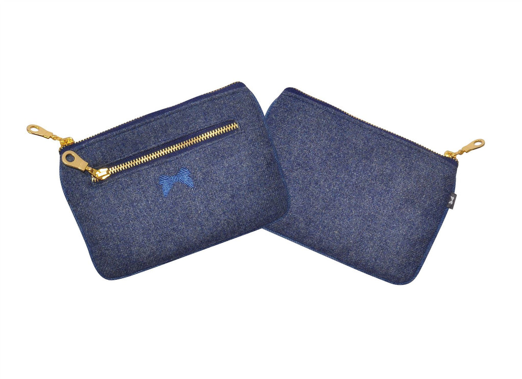 Earth Squared - Juliet Purse - Plain Wool - Blue - 17.5x12cms