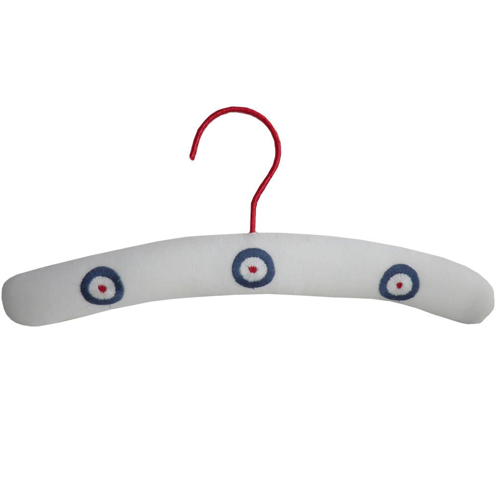 Children's Padded Hanger - Powell Craft - Red, White & Blue - Embroidered Targets