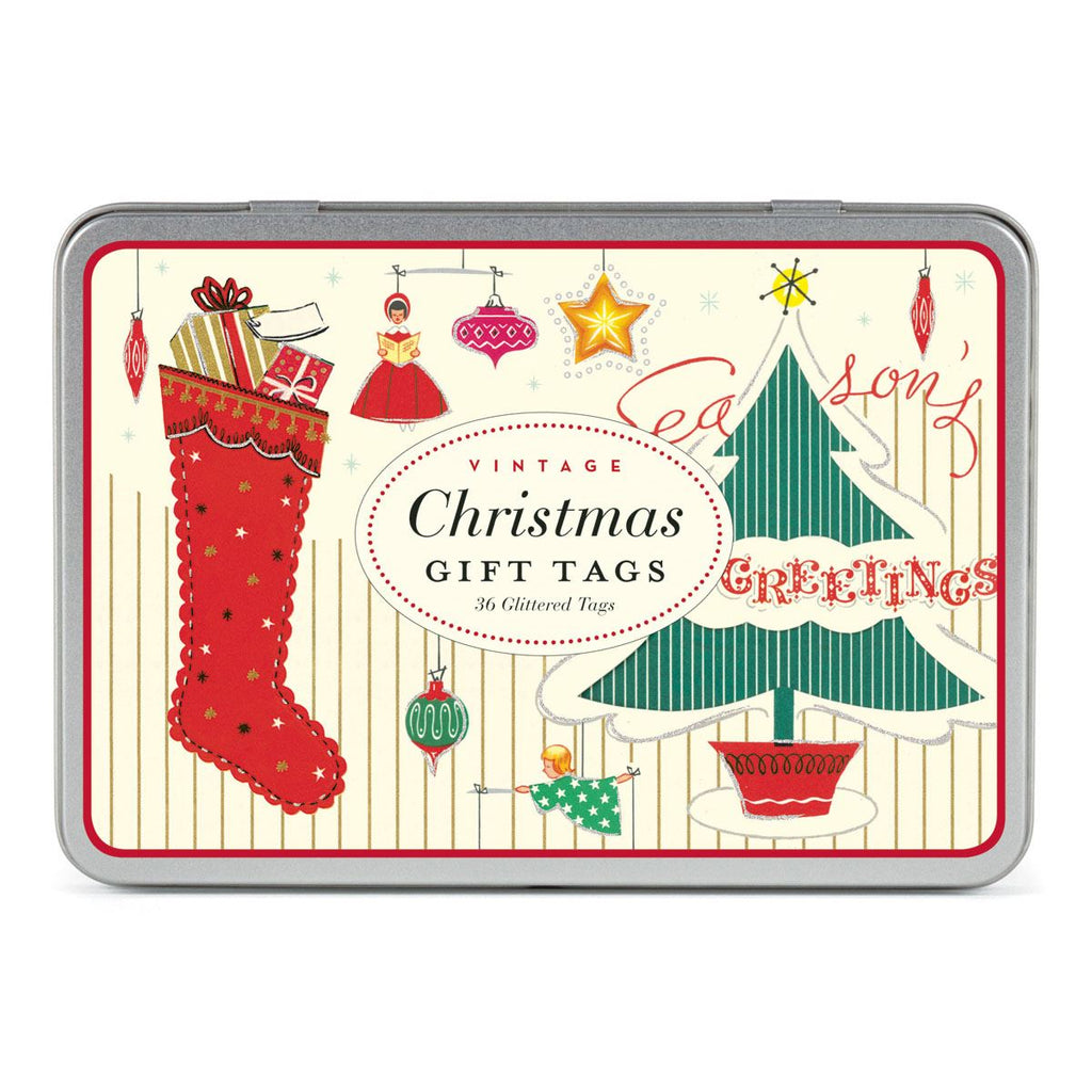 Cavallini - Tin of 36 Glittered Gift Tags - Assorted Vintage Christmas (CHRVIN)