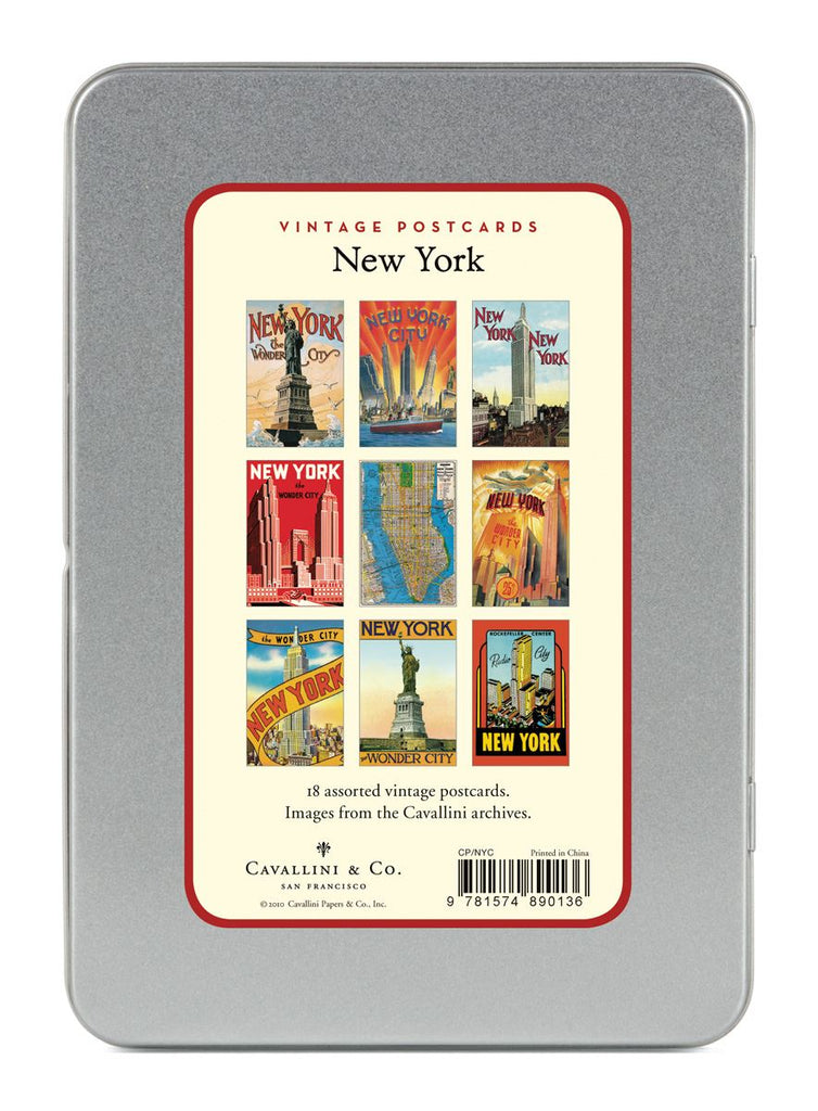 Cavallini - Carte Postale - New York City - Tin of 18 Postcards - 9 Designs