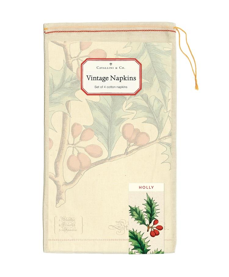 Cavallini - Set of 4 100% Cotton Vintage Napkins - 48x48cms - Christmas Holly