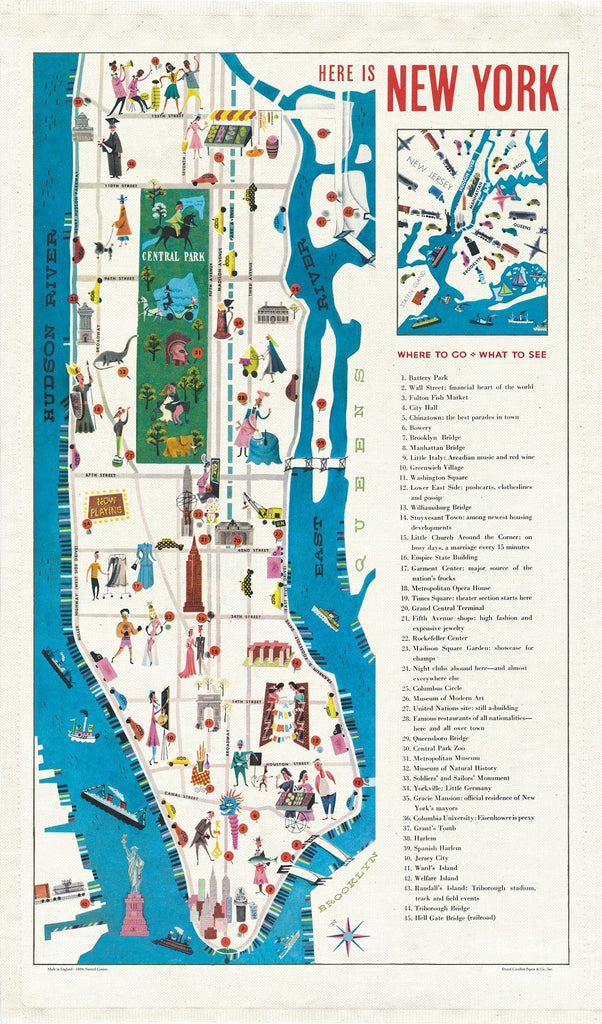 Cavallini - 100% Natural Cotton Vintage Tea Towel - 80 x 47cms - New York City Map
