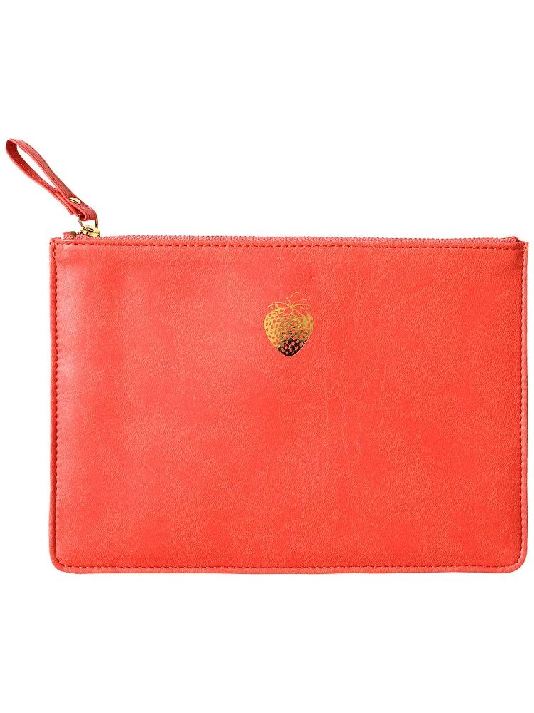 Sky & Miller - Faux Leather Soft Zipped Padded Pouch - Strawberry - Orange/Gold - 15x22cms